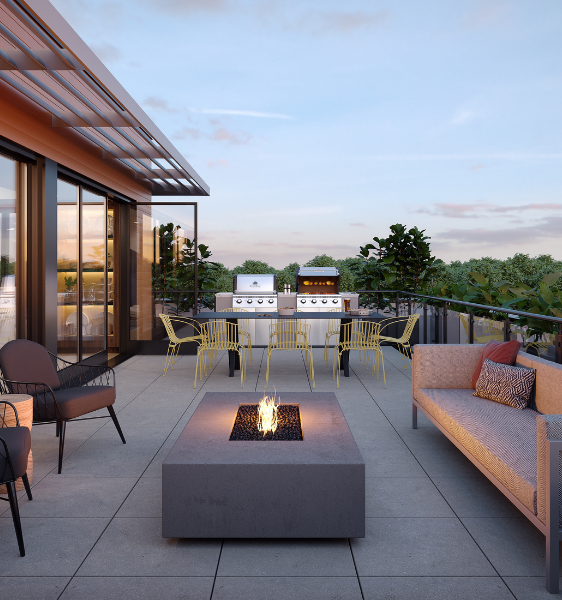 the rooftop deck